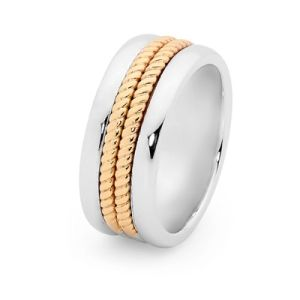 Image of 2 Tone Silver and Gold Ring - Men's Braid (35531U)