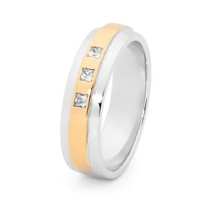 Image of Cubic Zirconia CZ 2 Tone Silver and Gold Ring - Men's Trilogy (35533U/
