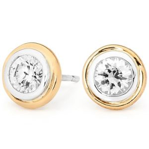Image of Cubic Zirconia CZ 2 Tone Silver and Gold Earrings - White (35539/CZ)