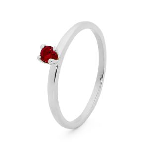 Image of Ruby Silver Ring - Stackable Claw Set (35547/CR)