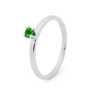 Image of Emerald Silver Ring - Stackable Claw Set (35547/G)