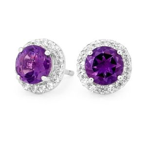 Image of Amethyst and Cubic Zirconia CZ Silver Earrings - Cluster (35557/AM)