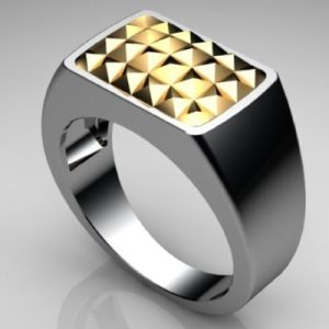 Image of 2 Tone Gold and Silver Ring - Men's Signet (35566U)