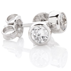 Image of Cubic Zirconia CZ Silver Earrings - 4mm Studs (35757/CZ40)