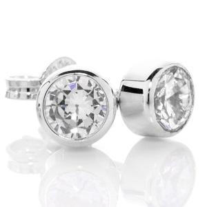 Image of Cubic Zirconia CZ Silver Earrings - 5mm Studs (35757/CZ50)