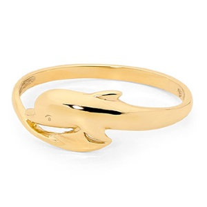 Image of Gold Ring - Dolphin Circle (42322)