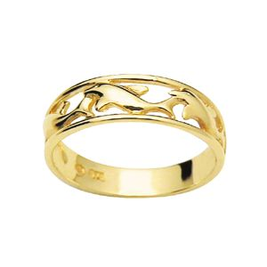 Image of Gold Ring - Dolphin Swimming (42608)