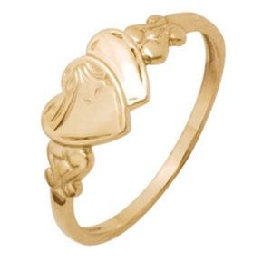 Image of Gold Ring - Hearts Engraved Size O (44677'O)