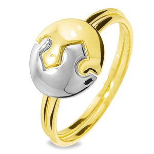 Image of 2 Tone Gold Ring - Puzzle Circle (45115)