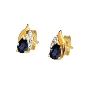 Image of Black Sapphire and Diamond Gold Earrings - Leaf (51309/SLG)