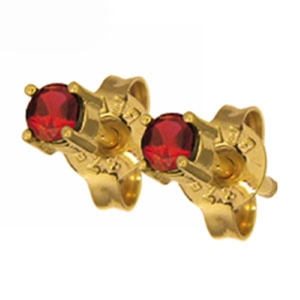 Image of Ruby Gold Earrings - 4mm Studs (51441/CR40)