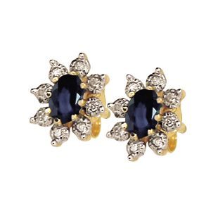 Image of Black Sapphire and Diamond Gold Earrings - Flower (52902/SLG)