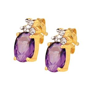 Amethyst and Diamond Earrings 53725AM