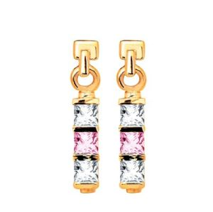 Image of Pink Cubic Zirconia CZ and White CZ Gold Earrings - Three Stone (53744