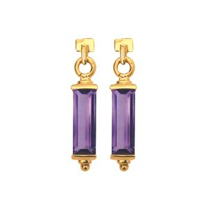 Image of Amethyst Gold Earrings - Baguette (53750/AM)