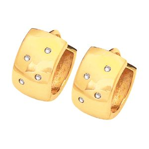 Image of Diamond Gold Earrings - Huggie (53766)