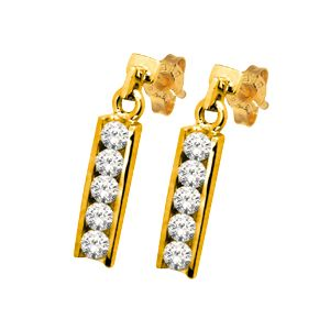 Image of Cubic Zirconia CZ Gold Earrings - Channel Set (53800/CZ)