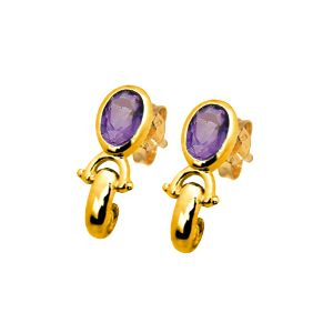 Image of Amethyst Gold Earrings (53802/AM)