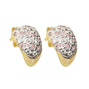 Image of Pink Cubic Zirconia CZ and White CZ Gold Earrings (53911/CZ/CZP)