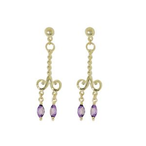 Image of Amethyst Gold Earrings - Chandelier (54323/AM)