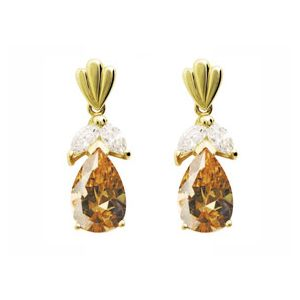 Image of Champagne Cubic Zirconia CZ and White CZ Gold Earrings (54373/CZCP)