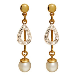 Image of Pearl and Diamond Gold Earrings - Drop (54509)