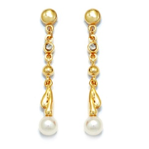 Image of Pearl and Diamond Gold Earrings (54517)