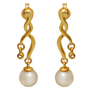 Image of Pearl and Diamond Gold Earrings - Chandelier (54545)