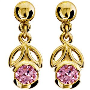 Image of Pink Cubic Zirconia CZ Gold Earrings - Flower (54658/CZP)
