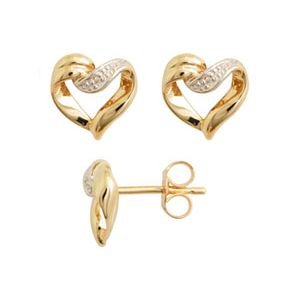 Diamond Gold Earrings - Heart Elegant