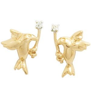 Image of Diamond Gold Earrings - Dove (54990)