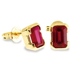 Image of Ruby Gold Earrings - 6x4mm Studs (55070/CR)