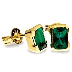 Emerald Gold Earrings - 6x4mm Studs