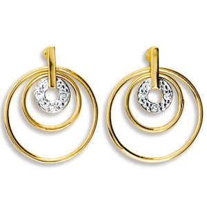 Image of Diamond Gold Earrings - Circle (55095)