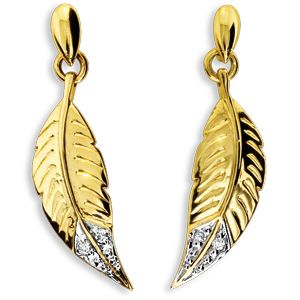 Image of Diamond Gold Earrings - Feather (55102)