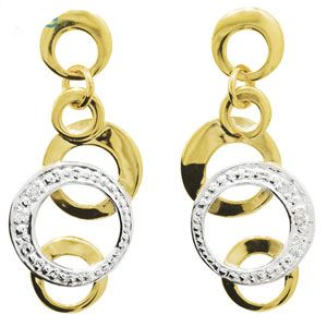 Image of Diamond Gold Earrings - Circles (55206)