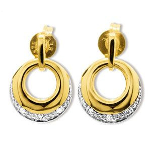 Image of Diamond Gold Earrings - Circle of Life (55248)