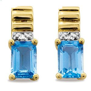 Image of Blue Topaz and Diamond Gold Earrings - Ribbed (55256/BT)