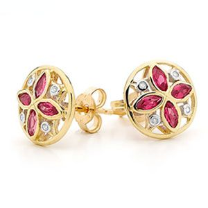 Ruby and Diamond Gold Earrings - Art Deco