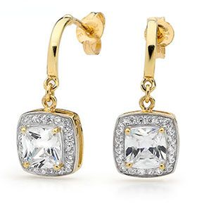 Image of Cubic Zirconia CZ Gold Earrings (55420/CZ)