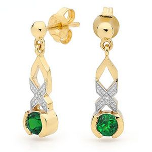Image of Emerald Gold Earrings - Hugs and Kisses (55426/G)