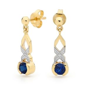Image of Sapphire and Diamond Gold Earrings - Hugs and Kisses (55426/S)