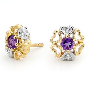 Image of Amethyst and Diamond Gold Earrings - Heart Flower (55436/AM)