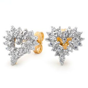 Image of Cubic Zirconia CZ Gold Earrings - Heart Cluster (55466/CZ)