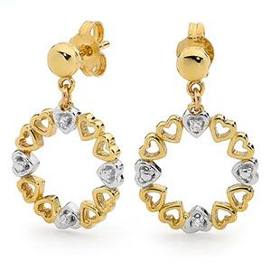 Image of Diamond Gold Earrings - Heart Circle of Life (55479)