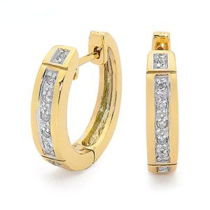 Image of Diamond Gold Earrings - Huggie Hoop (55509)