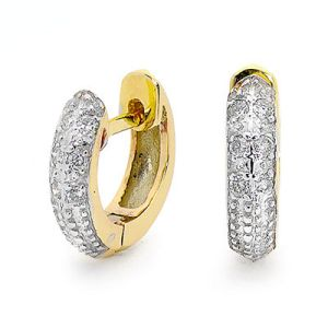 Image of Diamond Gold Earrings - Huggie Illusion Set (55511)