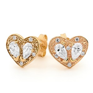 Image of Cubic Zirconia CZ Gold Earrings - Heart Pear Cut (55578/CZ)