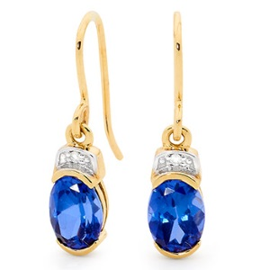 Image of Sapphire and Diamond Gold Earrings (55589/SS)