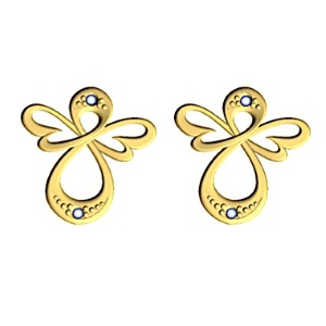 Image of Diamond Gold Earrings - Angels (55594)